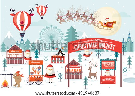 christmas market template vector/illustration