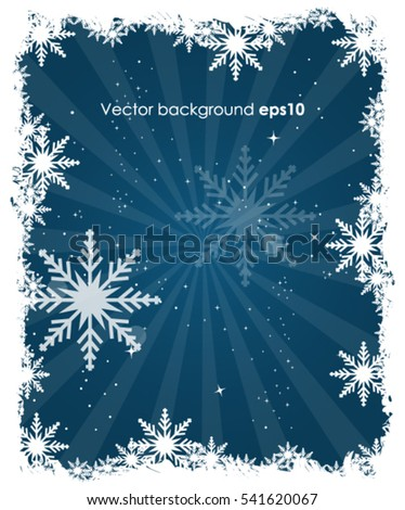 Christmas on winter blue background