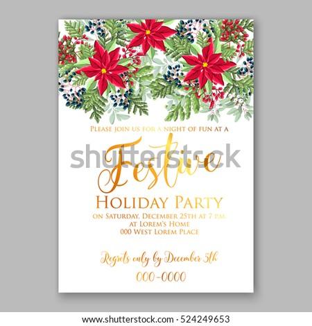 Christmas Party Invitation Fir Pine Holly Stock Vector 519671293 ...