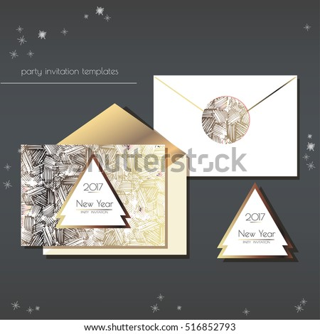 Christmas party invitation envelope template card stock vector christmas party invitations set with envelope template cards have enough copy space vector format stopboris