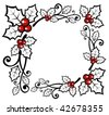 Christmas pattern with Holly Berry on a white background. - stock photo