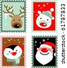Christmas post stamps with Santa, reindeer, polar bear and penguin - stock vector