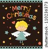 Christmas postcard with a cute little angel - stock