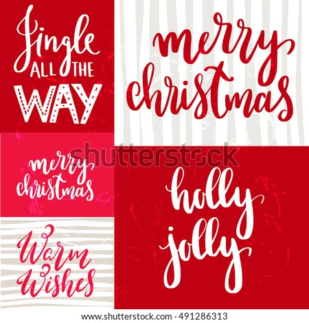 Set handwritten christmas quotes wishes modern stock for Christmas decoration quotes