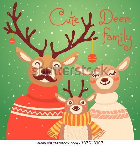 Christmas Reindeer Family Cute Card Deer Stock Vector ...