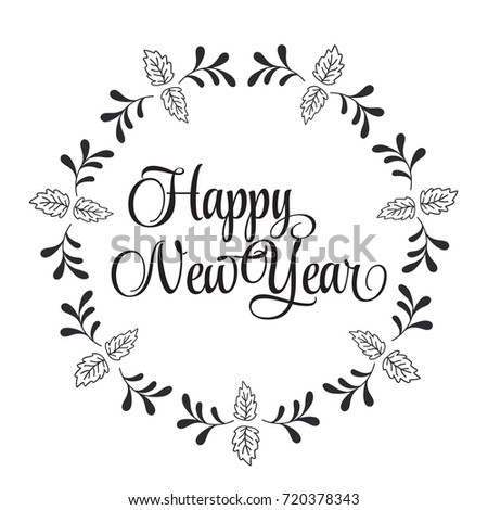 christmas related word art design vector with circle floral frame for happy new year - Word Frame