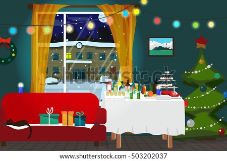 Christmas room interior. Christmas tree, buffet table, gift and decoration. View at night snowy street. Flat cartoon vector illustration
