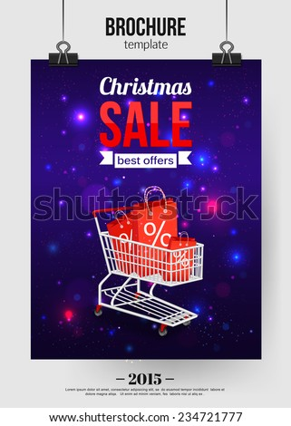 Christmas sale shining typographical background with place for text. Brochure design. Vector illustration.