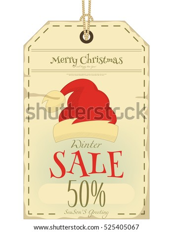 Christmas Sale Tag in Retro Style. Red Hat Santa Claus. Isolated on White Background. Vector Illustration