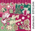 christmas scrapbook set - stock vector