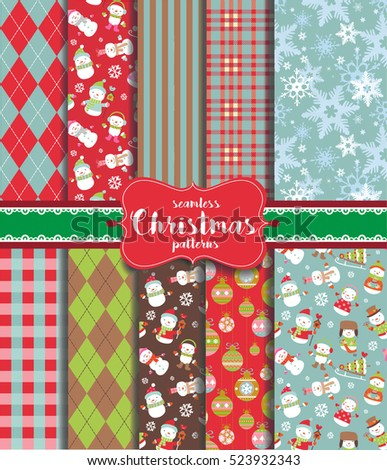 Christmas seamless backgrounds with traditional holiday symbols.