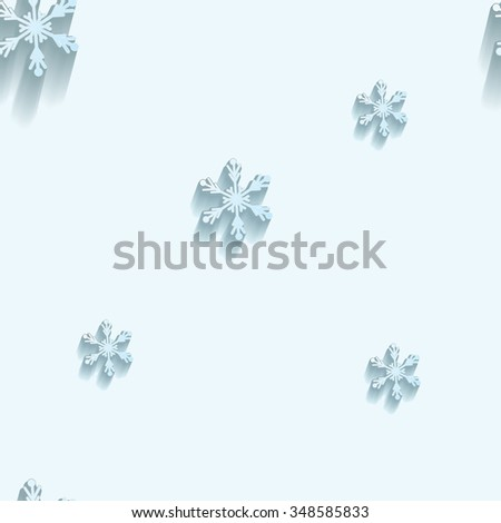 Christmas seamless pattern.  Snowflakes on light background. Flat design