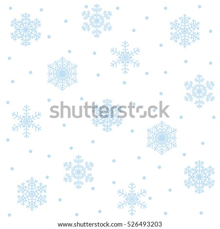 Christmas seamless pattern with blue snowflakes on white background