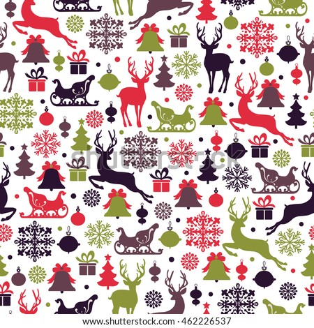 Christmas seamless pattern with deers,  reindeer sleigh, christmas tree, snowflake and gifts