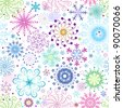 Christmas seamless pattern with variegated colorful snowflakes and stars (vector) - stock photo
