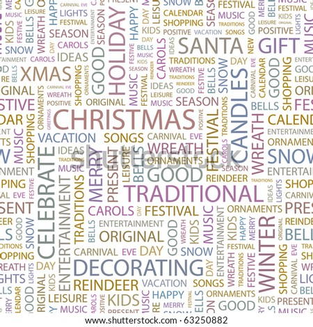 CHRISTMAS. Seamless vector background. Illustration with different association terms.
