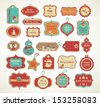 Christmas set - labels, tags and decorative graphic elements - stock vector