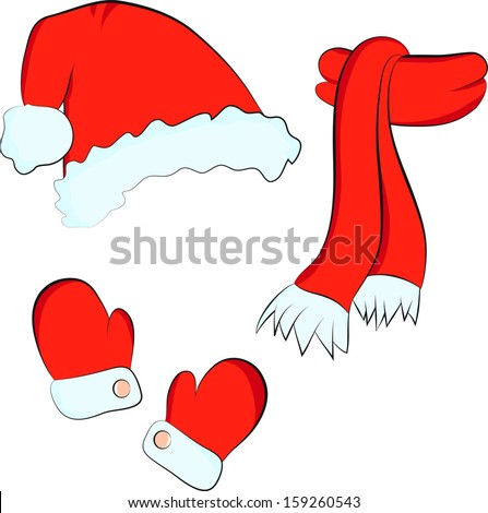 Christmas set: red santa claus hat, scarf and mittens on the white background