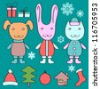 Christmas set with cute elements - stock vector