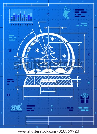 Smart phone like blueprint drawing stylized vectores en stock christmas snow globe symbol as blueprint drawing drafting of snow dome on blueprint paper malvernweather Gallery