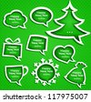 Christmas speech bubbles set various shapes on green background with New Year Greetings - stock vector