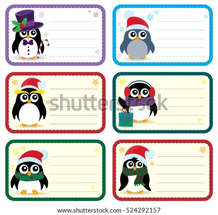 Christmas tags with penguins theme 1 - eps10 vector illustration.
