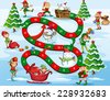 Christmas themed board game with numbers - stock