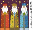 Christmas: Three Kings - Three Wise Men - stock vector
