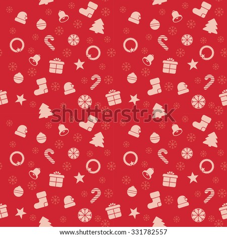 Christmas tree and candy cane on the seamless pattern