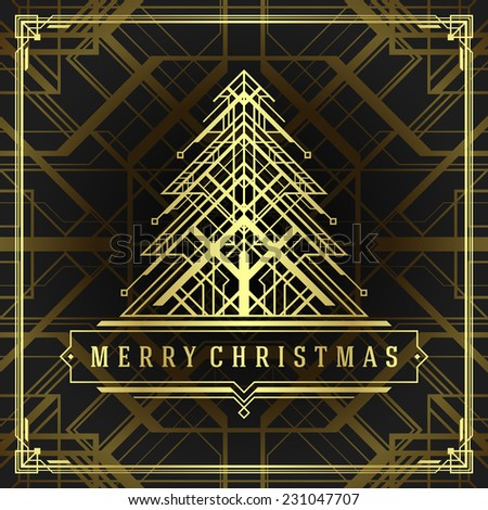 Christmas tree art deco style. Merry Christmas holidays wish greeting card  and vintage ornament decoration