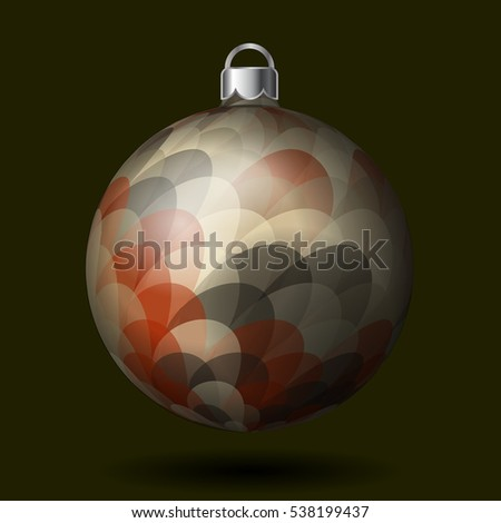Christmas tree ball with colorful pattern, isolated on dark background. Vector illustration. Part of xmas balls set.