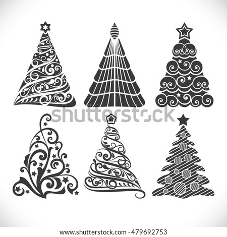 Christmas tree black shapes set isolated on white background for winter designs.
