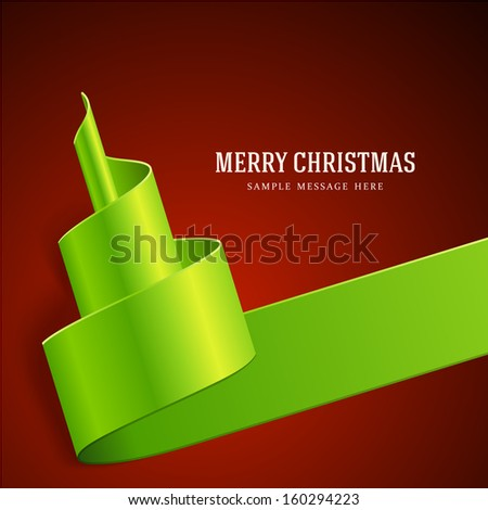 Christmas tree from green ribbon background. Vector illustration Eps 10.