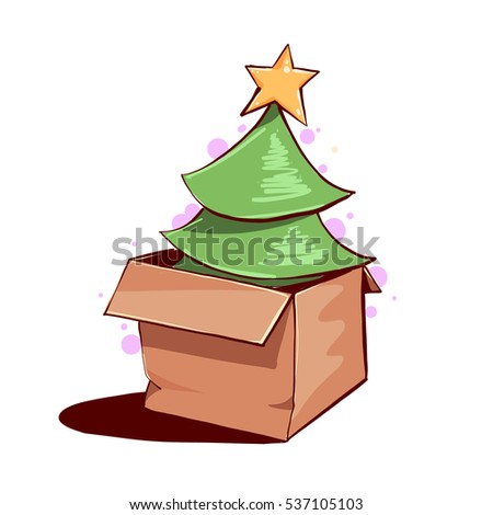 christmas tree in a box green fir tree in paper box vector illustration - Christmas Tree In A Box