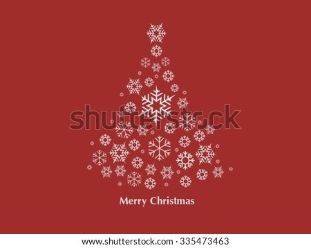 Christmas tree made of snow flake card in red and white