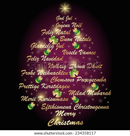 Merry christmas other words green that stock vector for Green in different languages