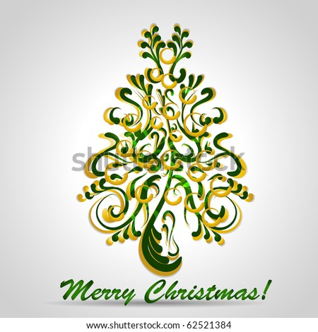 Christmas tree with gold and green elements