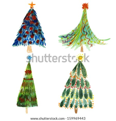 Christmas trees holidays hand drawn paint winter colorful vector set design
