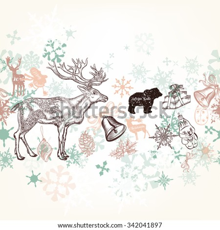 Christmas vector background in soft colors with snowflakes and animals