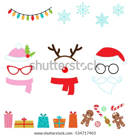 Christmas vector cartoon photo booth props