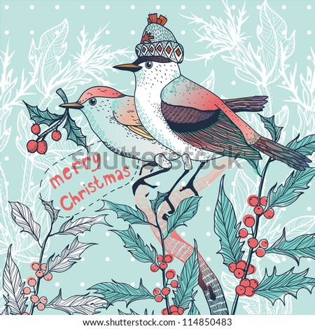 Christmas vector illustration of a couple of winter birds with holly berries