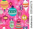Christmas vector seamless pattern in bright colors. - stock vector