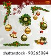 Christmas vector set of fir tree and evening balls, new year's  clock and festive bells - stock photo