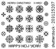 Christmas vector snowflakes designs in pixel style. Vector illustration - stock vector