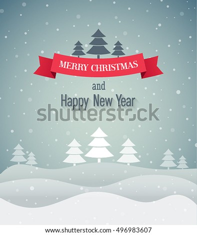 Christmas vintage greeting card. Vector illustration.