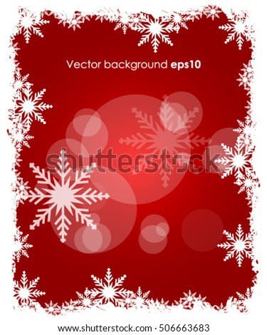 Christmas winter red background with snowflakes