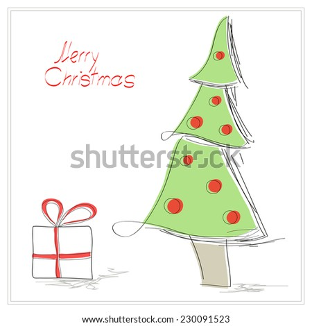 Christmas wishes card with lettering, green fir tree and present. Vector illustration. Hand drawn
