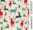 Christmas wooden reindeer seamless pattern background. illustration background. Vector illustration layered for easy manipulation and custom coloring - stock vector