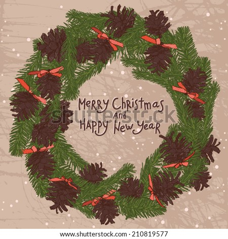 christmas wreath with brown pine cones with text