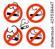 Cigarette icons set. No Smoking prohibition sign. Nicotine. Vector illustration - stock vector